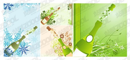 Champagne opening moments with pattern pattern vector materi