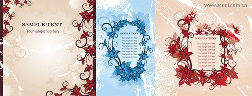 3 vector fashion flowers border material