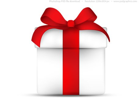 White gift box with red ribbon bow, PSD icon