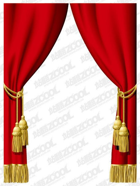 Vector red curtain material