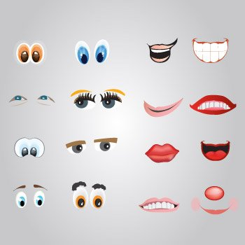 Cartoon eyes and lips illustrations