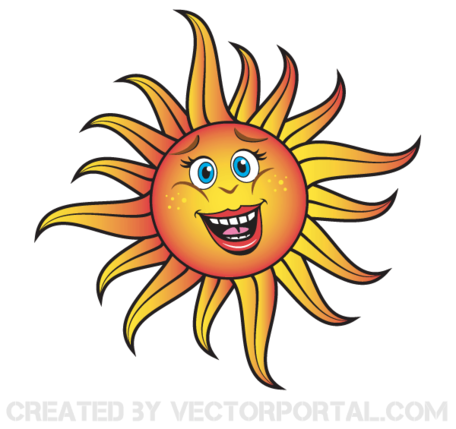 Sorridente Cartoon Sun vettoriali gratis