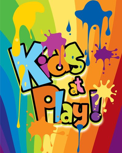 Kids at play splash of color ink background WordArt