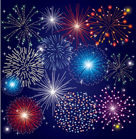 Colorful Fireworks Material 03- Vector Material Beautiful Colorful Bloom