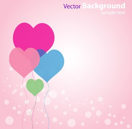Abstract Love Background with Heart Shaped Balloons Vector Free
