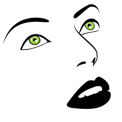 Woman Face Clipart Black And White 녹색 눈 여자 얼�...