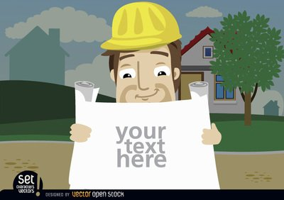 Construction employee looking plans text