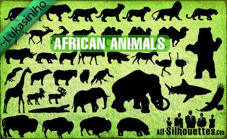 31 Vector African Animals Silhouettes