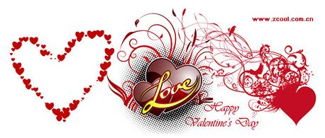 3 beautiful Valentine's Day heart-shaped vector material ele