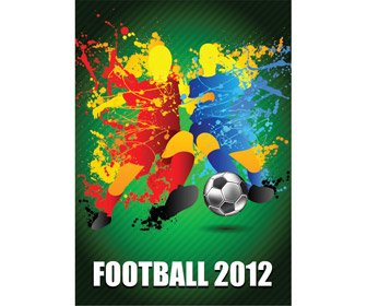 Splash de joueurs de football avec un Champion de football Ball Vector Art Background