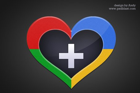 Heart shape Google + icon