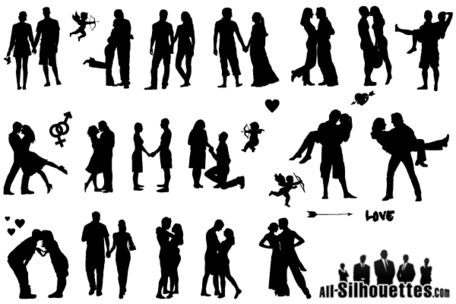Romantic Love Couple Silhouette Vector Free