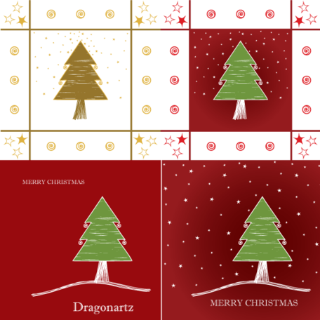 Merry Christmas Greeting Card Design with Tree and Twinkling Stars