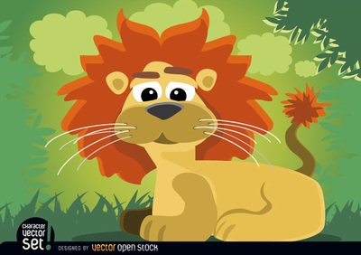Animal de lion caricature assis dans la jungle