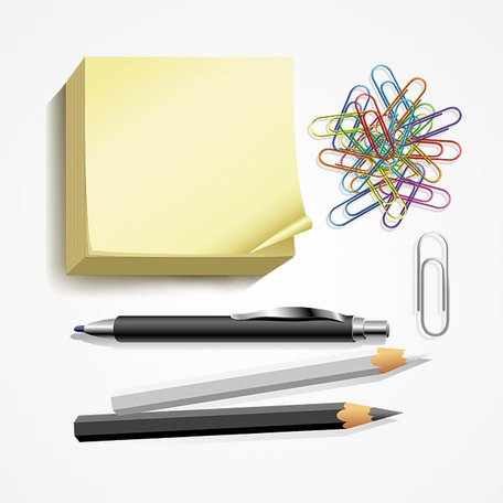 Notas Post-it, pluma, lápiz & sujetapapeles Vector Set (gratis)