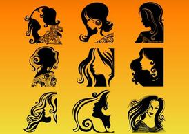 Woman Profile Silhouettes