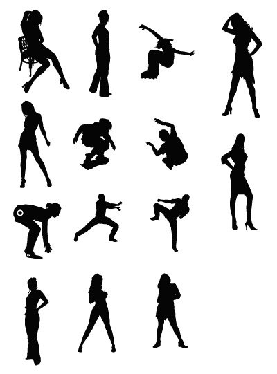 Women and sports figures silhouette