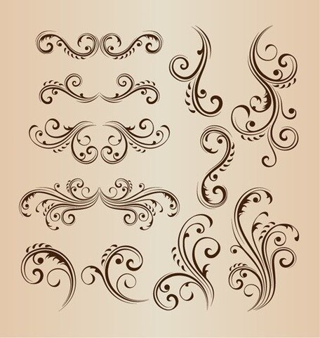 Vintage Swirl Design Floral Vector Set
