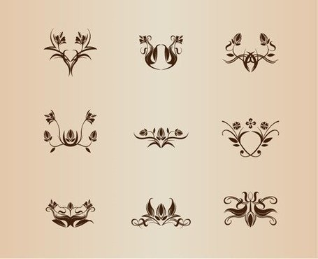 Symmetrische Floral Elements Vector Collection