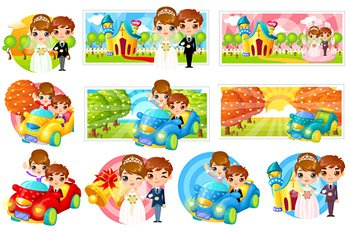 Cute cartoon image of the bride and groom vector elements