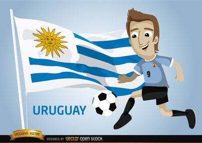 Uruguayan football player with flag