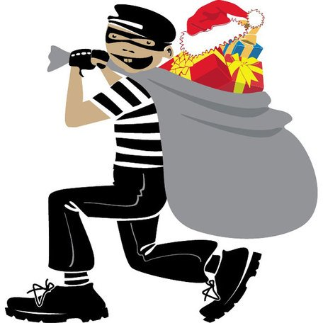 THIEF WITH XMAS PRESENTS VECTOR.eps
