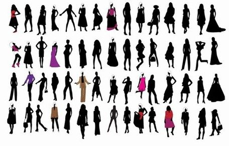 Silhouette de Fashion Girls