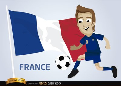 France-Football-Spieler mit Flagge