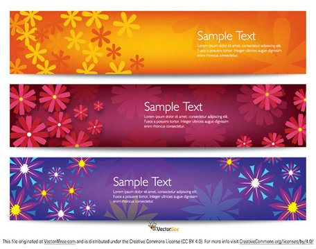 Colorful Vector Flower Banners