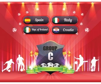 Euro 2012 Group C Award Poster Decoration Vector Art Badge Ball