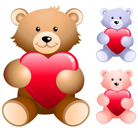 Teddy bear holding heart-shaped, Vector Files - Clipart.me