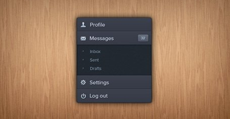 Dark Accordion Style Navigation (PSD)