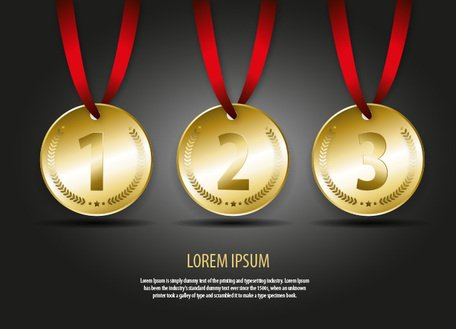 Gold Medal Vector Illustration (First, Second and Third Place)