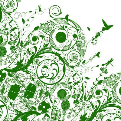 Green Silhouette Swirling Nature Background