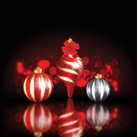 Red Christmas Background with Vector Ball Ornaments (Free)