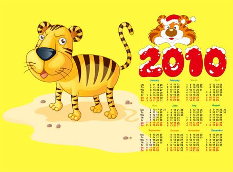 Cute tiger with the 2010 calendar
