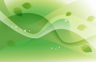 Abstract Green Leaves and Waves Background