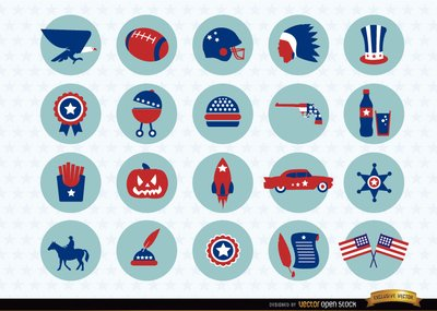 USA national symbols icons pack