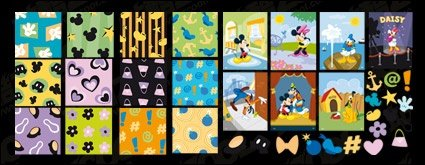 Mickey Mouse, Donald Duck, coeurs, fleurs, bombes fond carreaux belle Disney