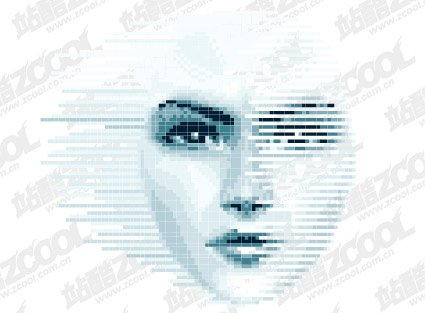 Women face vector of digital material