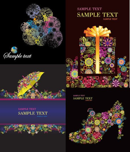 4 Vector colorful flower theme