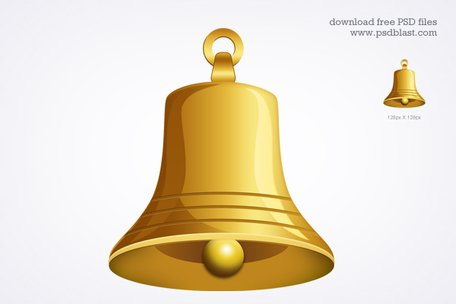 Gold bell icon (PSD)