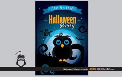 Halloween Party sowa plakat