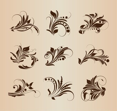 Collection of Vector Vintage Floral Elements for Retro Design