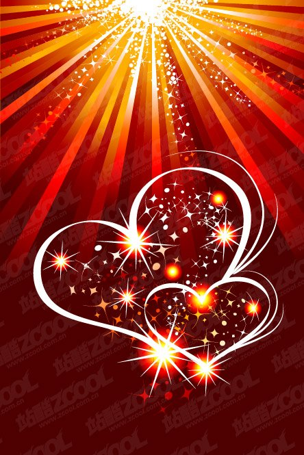 Flashing Heart-shaped vector material and light