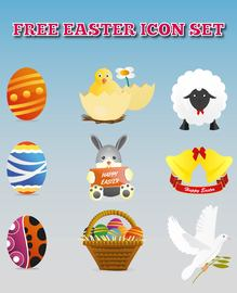 Bunte Ostern Dekoration Icon Set