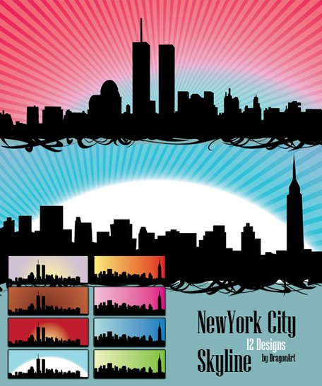 Free Vector Set: 12 New York City Skyline silhuetas