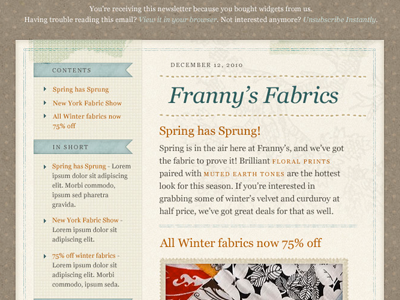 'Fabric' Email Template PSD by Meagan Fisher