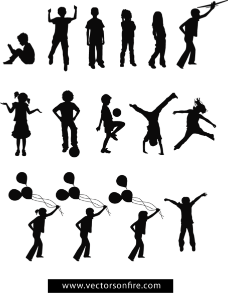 Playing Children Silhouettes (15 Vectors)
