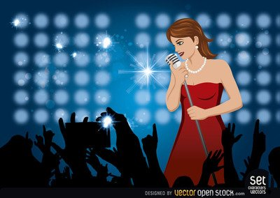Fille chanter dans un Concert